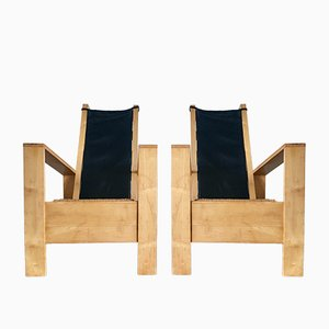 Vintage Oak Armchairs with Leather, Set of 2