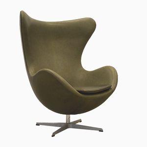 Khaki Green Egg Chair by Arne Jacobsen for Fritz Hansen, 1970s