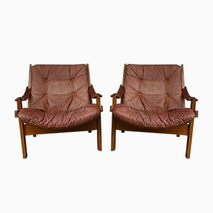 Scandinavian Hunter Lounge Chairs by Torbjørn Afdal for Bruksbo, 1960s, Set of 2