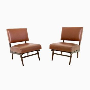 Italienische Sessel aus Skai Leder und Holz, 1950er, 2er Set