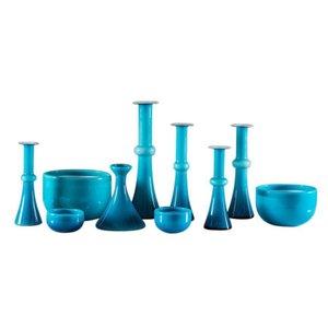 Vintage Scandinavian Blue Glass Vessels by Per Lutken for Holmegaard, Set of 10