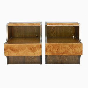 Nightstands with Lights and Suede, 1970s, Set of 2