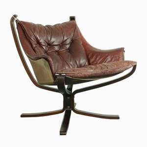 Vintage Winged Falcon Chair in Chestnut Brown Leather by Sigurd Resell for Vatne Mobler