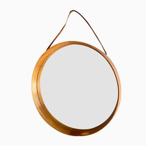 Swedish Oak Mirror with Leather Strap by Uno & Östen Kristiansson for Luxus, 1950s