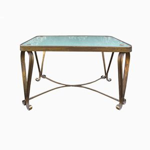 Italian Brass & Stained Glass Side Table, 1950s