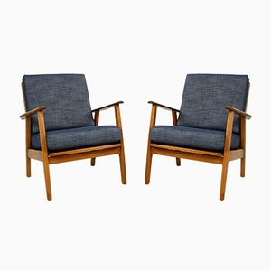 Danish Oak & Teak Armchairs, 1960s, Set of 2