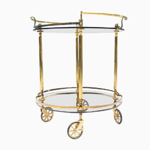 Brass & Smoked Glass Serving Cart, 1960s