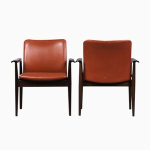209 Diplomat Chair in Mahogany and Brown Leather by Finn Juhl for Cado, 1960s