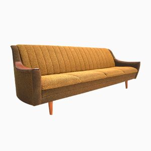 Norwegian Teak 4-Seater Sofabed in Yellow & Brown Wool, 1960s