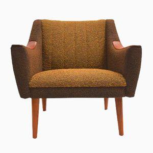 Norwegian Teak Armchair in Yellow & Brown Wool, 1960s