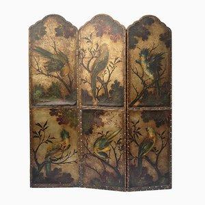 Antiker Raumteiler aus Leder mit Vögel- & Bumendekor