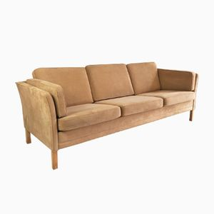 Danish Mid-Century 3-Seater Sofa with Faux Suede Upholstery