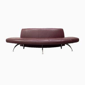 Vintage Burgundy Leather Waiting Sofa by Rodolfo Dordoni for Moroso