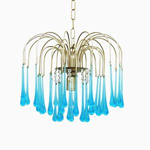 Mid-Century Chandelier with Crystal Drops by Paolo Venini, 1960s