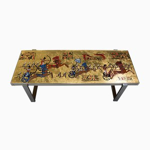 Mid-Century Egyptian Themed Coffee Table by De Nisco