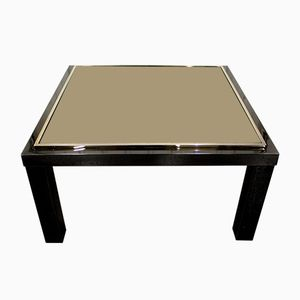 Vintage Black Side Table with 23 Karat Gold Rimmed Top from Belgo Chrom