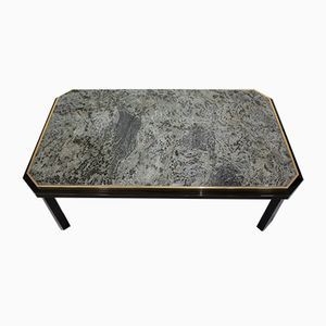 Vintage Black Lacquer & Brass Coffee Table with Green Marble Top from Fedam
