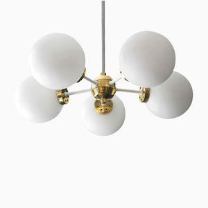 Lampada da soffitto Space Age bianca in ottone e metallo di Kaiser, anni '60