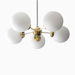 Space Age White Metal & Brass Ceiling Lamp by Kaiser, 1960s