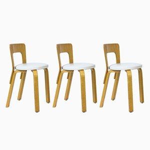 Chaises Model 65 par Alvar Aalto pour Artek, 1970s, Set de 3