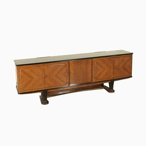 Vintage Italian Sideboard in Rosewood Veneer, Carved Wood, and Opal Glass, 1950s