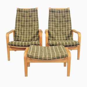 Easy Chairs with Stool by Alf Svensson for Källemo, 1960s, Set of 3
