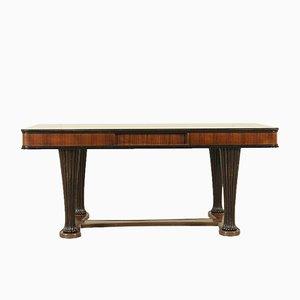 Table en Placage de Palissandre Sculpté, Verre Opalin & Laiton, 1950s