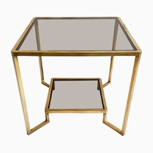 Italian Square Brass Side or Coffee Table, 1970s