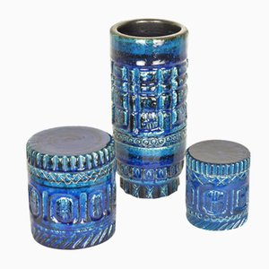 Blue Ceramic Tube Vase & Boxes by Pol Chambost, 1950s, Set of 3