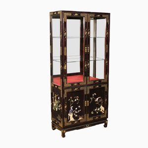 French Lacquered & Painted Chinoiserie Showcase, 1950s