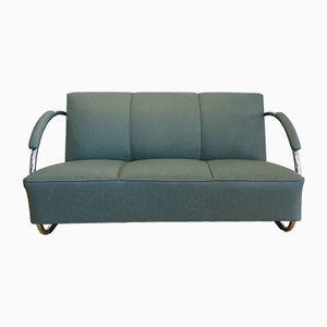Sofa aus Verchromtem Stahl & Kunstleder von Warren McArthur, 1930er