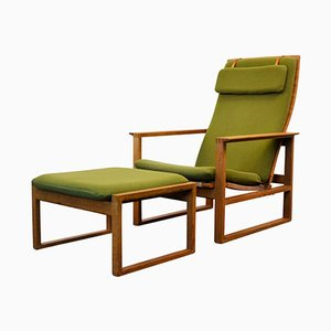 Mid-Century Model 2256 Oak Chair & Footstool by Børge Mogensen for Fredericia