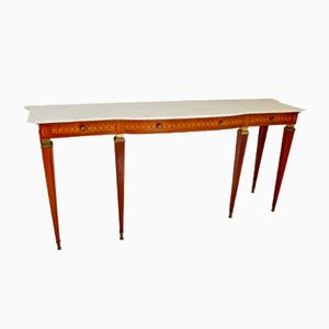 Walnut and Marble Console Table by Paolo Buffa, 1950s