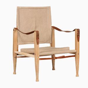 Dänischer Eschenholz & Leinen Safari Chair von Kaare Klint für Rud Rasmussen, 1970er