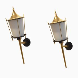 Large Mid-Century French Black Lacquer & Brass Wall Sconces from Maison Arlus, Set of 2