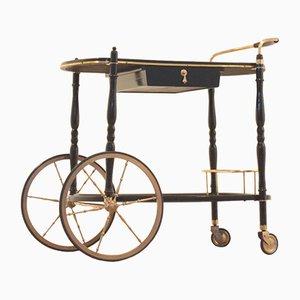 Italienischer Vintage Servierwagen aus Lackiertem Holz & Messing von Cesare Lacca