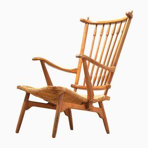Niederländischer Mid-Century Armlehnstuhl aus Holz & Kord