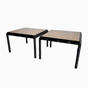 Tables d'Appoint en Faux Bambou et Rotin, 1970s, Set de 2