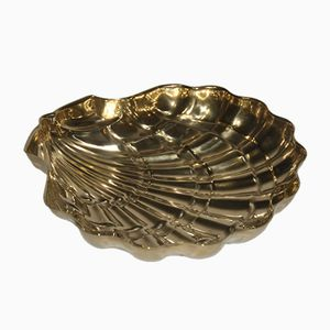 Embossed Brass Shell Tray, 1950s