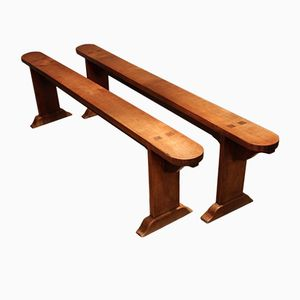 19th Century French Cherrywood Benches, Set of 2
