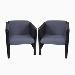 Tubular Metal Armchairs with Blue & White Fabric, 1980s, Set of 2