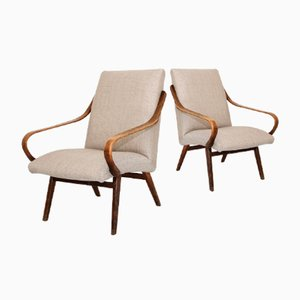 Armchairs with Beige Upholstery, 1960s, Set of 2