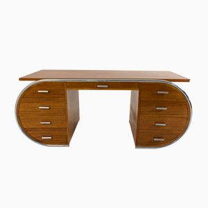 French Art Deco Mahogany & Tubular Steel Desk, 1930s