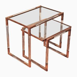 Lucite & Brass Nesting Tables, 1970s