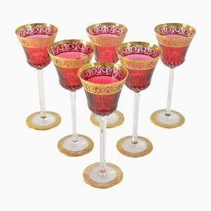 Bicchieri antichi in cristallo oro e ametista di Cristal St. Louis, Francia, set di 6