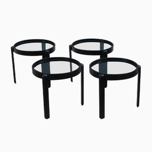 Black Chestnut Stacking Tables, 1960s, Set of 4