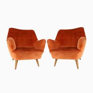 Italian Red Mohair Velour Armchairs, 1950s, Set of 2