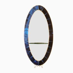 Cobalt Blue Italian Mirror with Console from Cristal Art, 1960s