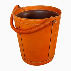 Danish Leather Wastebasket from Illums Bolighus, 1950s