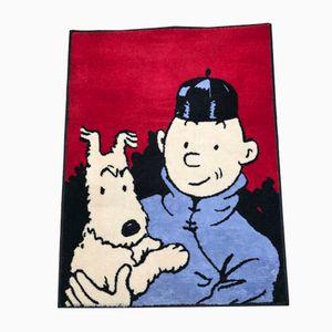 Tapis Tintin et Le Lotus Bleu Vintage par Hergé pour Axis, 1980s